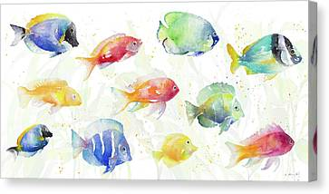 Sea Canvas Print - School Of Tropical Fish by Lanie Loreth