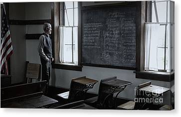 Old School Houses Canvas Print - School Teach At Lower Fox Creek School In Kansas by Keith Kapple