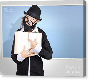 School Teacher In Classroom Pointing To Empty Book Canvas Print