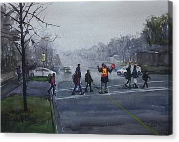 Canvas Print featuring the painting School Traffic by Helal Uddin