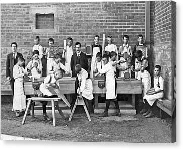School Woodworking Class Canvas Print by Underwood Archives