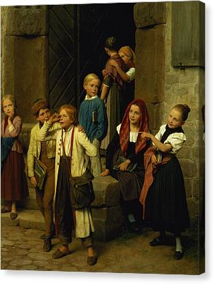 Schoolchildren Watching A Boy Cry Canvas Print by Friedrich Edouard Meyerheim