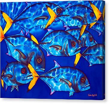 Schooling  Jack Fish Canvas Print by Daniel Jean-Baptiste