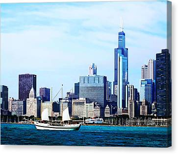 Chicago Il - Schooner Against Chicago Skyline Canvas Print by Susan Savad