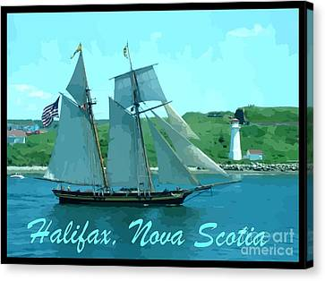 Schooner And Lighthouse Canvas Print by John Malone