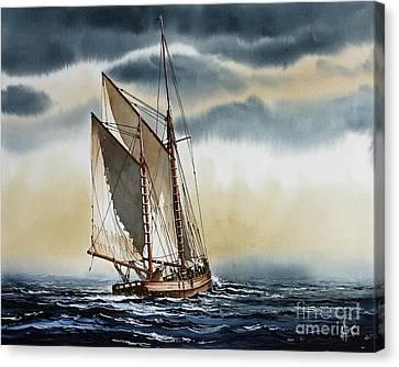 Schooner Canvas Print by James Williamson