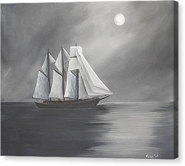 Schooner Moon Canvas Print by Virginia Coyle