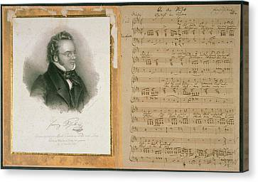Autographed Art Canvas Print - Schubert Song And Portrait by British Library