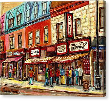 Schwartz The Musical Painting By Carole Spandau Montreal Streetscene Artist Canvas Print by Carole Spandau