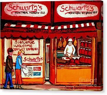 Schwartz's  Deli  Montreal Landmarks Canvas Print by Carole Spandau