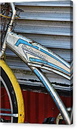 Schwinn With A Yellow Fender Canvas Print by Lynn Jordan