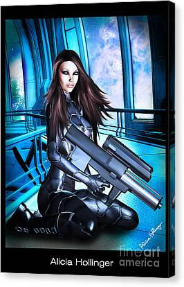 Sci-fi Brunette With A Big Gun Canvas Print