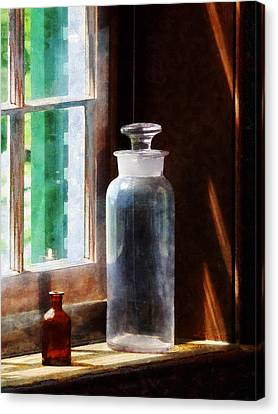 Science - Reagent Bottle And Small Brown Bottle Canvas Print by Susan Savad