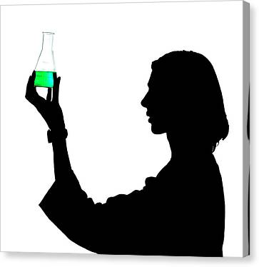 Laboratory Equipment Canvas Print - Scientist And Conical Flask by Natural History Museum, London