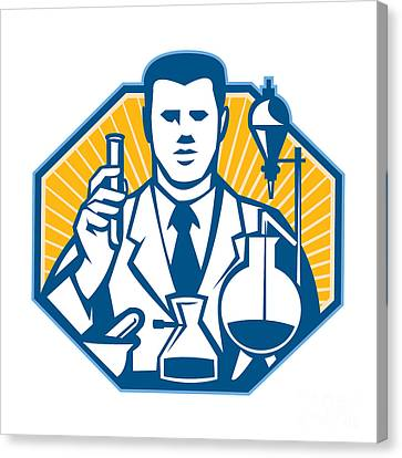 Scientist Lab Researcher Chemist Retro Canvas Print by Aloysius Patrimonio