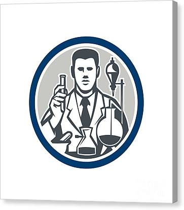 Scientist Lab Researcher Chemist Retro Circle  Canvas Print by Aloysius Patrimonio