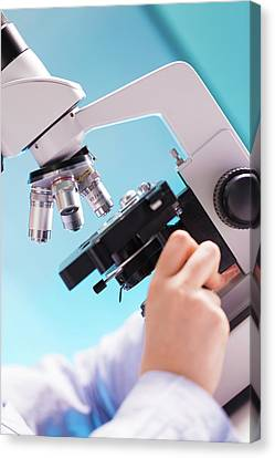 Laboratory Equipment Canvas Print - Scientist Using A Microscope by Wladimir Bulgar