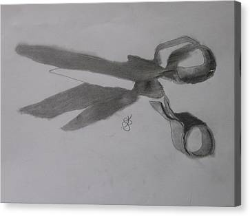 Canvas Print featuring the drawing Scissors by AJ Brown
