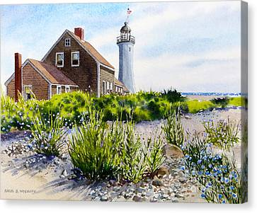 Scituate Light By Day Canvas Print by Karol Wyckoff