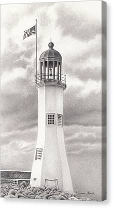Canvas Print featuring the drawing Scituate Light by Donna Basile
