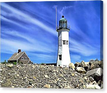 Scituate Lighthouse Canvas Print by Janice Drew
