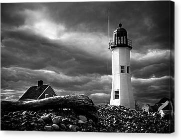 Canvas Print featuring the photograph Scituate Lighthouse Under A Stormy Sky by Jeff Folger