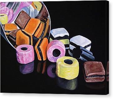 Licorice Canvas Print - Scoop Of Licorice Allsorts Candy by Lillian  Bell