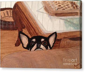 Scooter Peeking Over Couch Canvas Print by Michelle Treanor