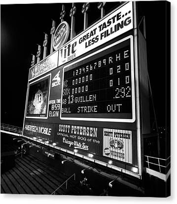 Scoreboard In A Baseball Stadium, U.s Canvas Print