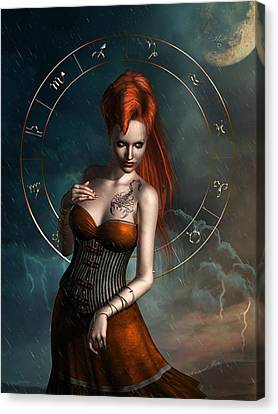 Scorpio Zodiac Sign Canvas Print by Britta Glodde