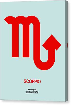 Scorpio Zodiac Sign Red Canvas Print by Naxart Studio