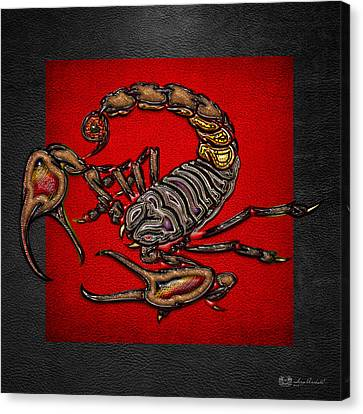 Scorpion On Red And Black Leather Canvas Print by Serge Averbukh