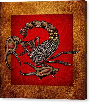 Scorpion On Red And Brown Leather Canvas Print by Serge Averbukh