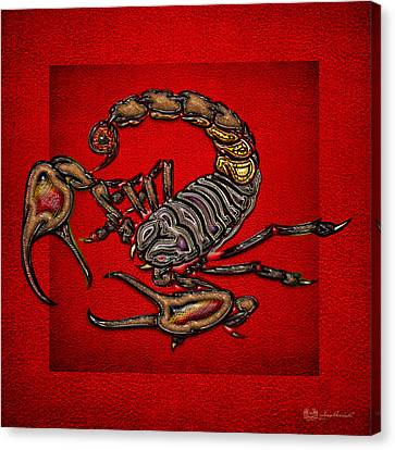 Scorpion On Red Canvas Print by Serge Averbukh