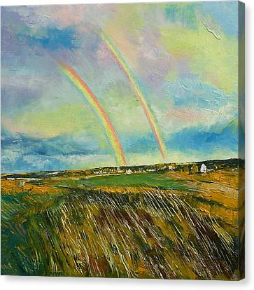 Scotland Double Rainbow Canvas Print by Michael Creese