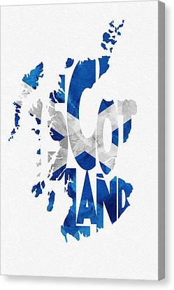 Scotland Typographic Map Flag Canvas Print by Ayse Deniz