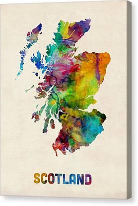 Scotland Watercolor Map Canvas Print