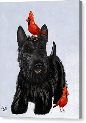 Scottie Dog And Red Birds Canvas Print by Kelly McLaughlan