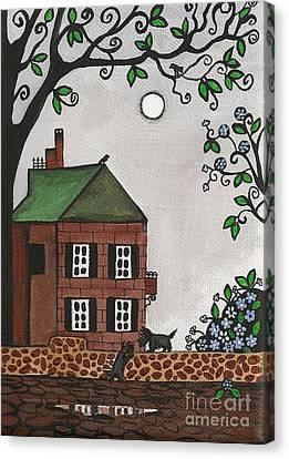 Scotties On An Overcast Day Canvas Print by Margaryta Yermolayeva