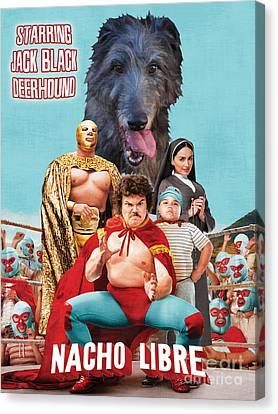 Scottish Deerhound Art - Nacho Libre Movie Poster Canvas Print by Sandra Sij