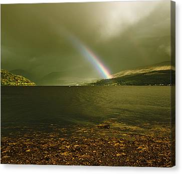 Scottish Rainbow On Loch Fyne Canvas Print by Jane McIlroy