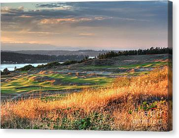 Canvas Print featuring the photograph Scottish Style Links In September - Chambers Bay Golf Course by Chris Anderson
