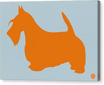 Dog Canvas Print - Scottish Terrier Orange by Naxart Studio