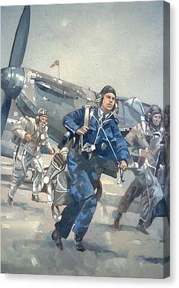 Scramble For The Skies Oil On Canvas Canvas Print by Peter Miller