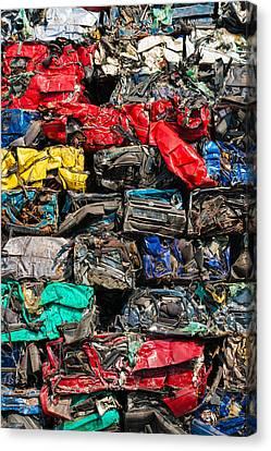 Scrap Cars Colorful Heap Canvas Print by Matthias Hauser