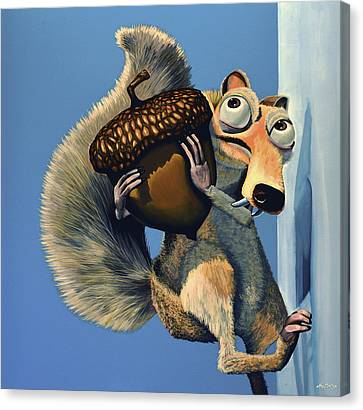 Comic. Marvel Canvas Print - Scrat Of Ice Age by Paul Meijering