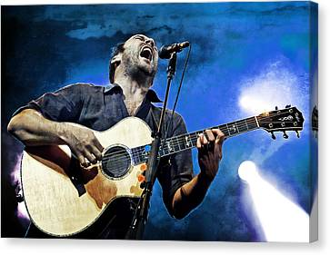 Dave Matthews Screaming On Guitar In Blue Canvas Print by Jennifer Rondinelli Reilly - Fine Art Photography