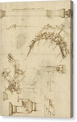 Exploration Canvas Print - Screw Breech Bombard Decorative Geometrical Drawings Framework Of Self Supporting Military Bridge  by Leonardo Da Vinci