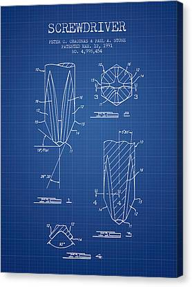 Screwdriver Patent From 1991 - Blueprint Canvas Print