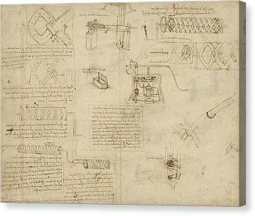 Exploration Canvas Print - Screws And Lathe Assembling Press For Olives For Oil Production And Components Of Plumbing Machine  by Leonardo Da Vinci